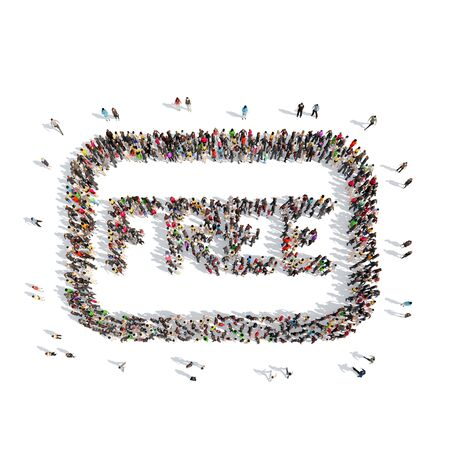 A large group of people in the shape of free. Isolated, white background. photo