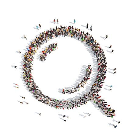 A large group of people in the shape of a magnifying glass. Isolated, white background. photo