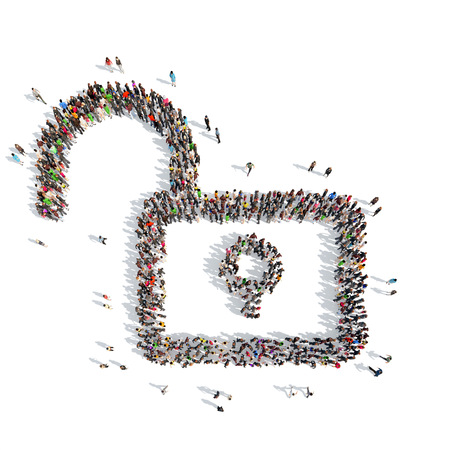 A large group of people in the shape of lock. Isolated, white background.