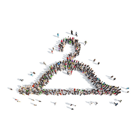 A large group of people in the shape of clothes hangers. Isolated, white background. photo
