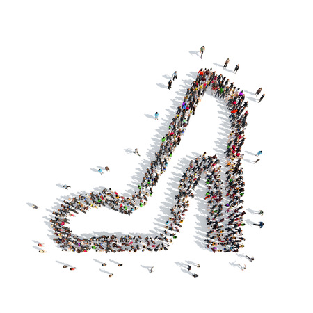 cleavage: A large group of people in the shape of shoes. Isolated, white background. Stock Photo