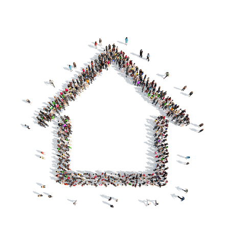 indian happy family: A large group of people in the shape of a house. Isolated, white background.