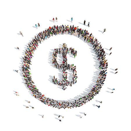signo de pesos: Un gran grupo de personas en forma de signo Dolar. Aislado, fondo blanco.