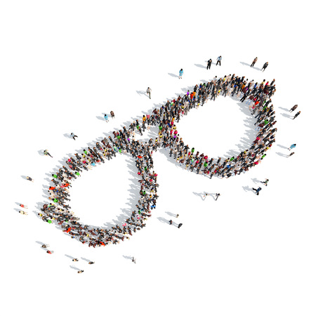 girl glasses: A large group of people in the shape of glasses. Isolated, white background. Stock Photo