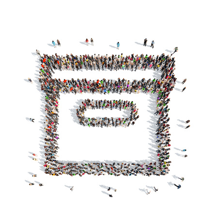 A large group of people in the shape box. Isolated, white background. photo