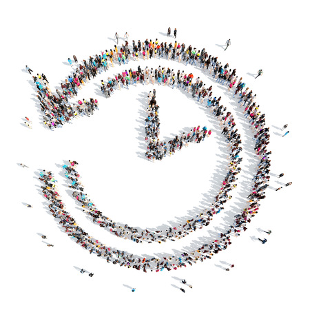 A large group of people in the shape of clock. Isolated, white background. Banque d'images