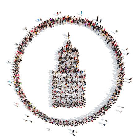 trabajo social: Un gran grupo de personas de la forma del edificio. Aislado, fondo blanco.