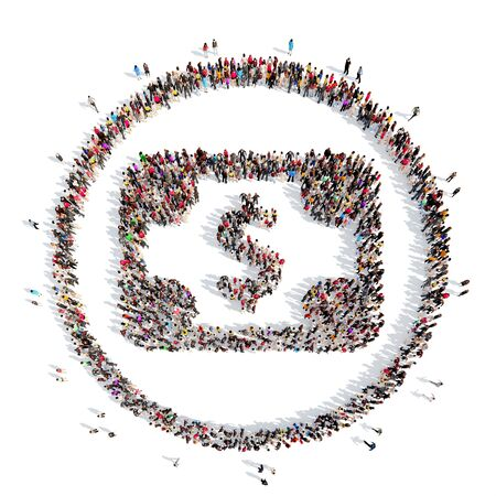 dolar: A large group of people in the shape of Dolar. Isolated, white background.