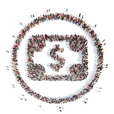 signo de pesos: Un gran grupo de personas en forma de Dolar. Aislado, fondo blanco.