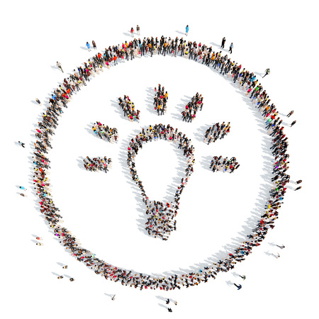 conceptual bulb: A large group of people in the shape of a lamp. Isolated, white background.