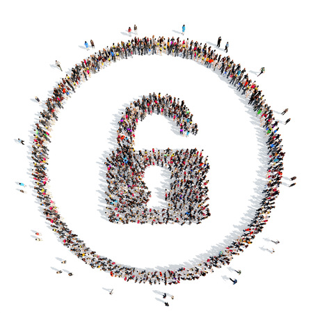 A large group of people in the shape of lock. Isolated, white background. Banco de Imagens - 41044839