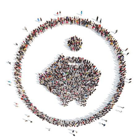 A large group of people in the shape of piggy bank. Isolated, white background. photo