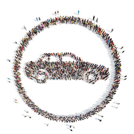 A large group of people in the shape of a car. Isolated, white background. photo