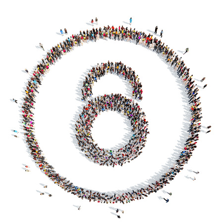 A large group of people in the shape of lock. Isolated, white background. photo
