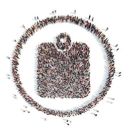 A large group of people in the shape of purse. Isolated, white background.