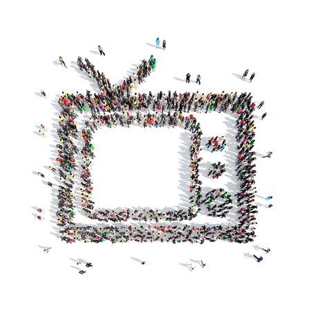 watcher: A large group of people in the shape of retro TV. Isolated, white background. Stock Photo
