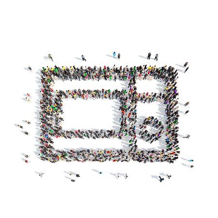microwave oven: Un gran grupo de personas en la forma de un horno de microondas. Aislado, fondo blanco.