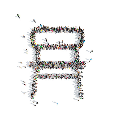 sip: A large group of people in the shape of a chair. Isolated, white background.