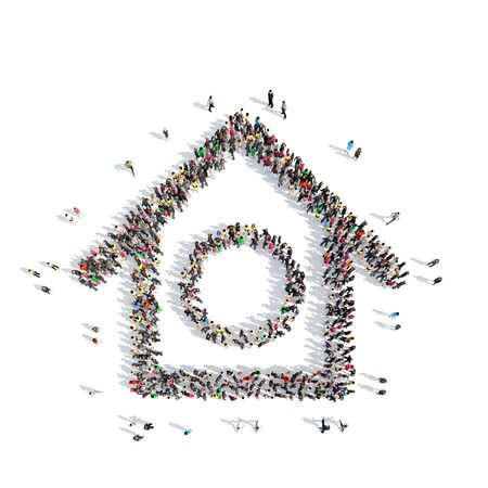hole in one: A large group of people in the shape of the birdhouse. Isolated, white background.