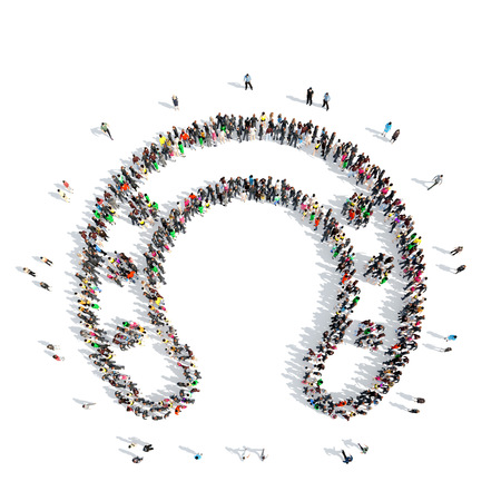 A large group of people in the shape of a horseshoe. Isolated, white background. photo