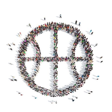 A large group of people in the shape of a basketball. Isolated, white background.