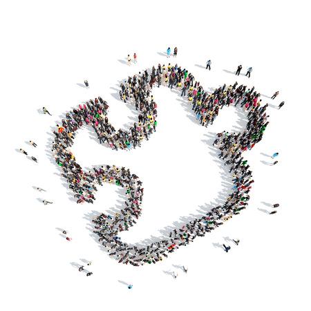 simbolo de la mujer: Un gran grupo de personas en el shapeof un rompecabezas. Aislado, fondo blanco.
