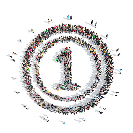 number of people: A large group of people in the shape of number one. Isolated, white background.