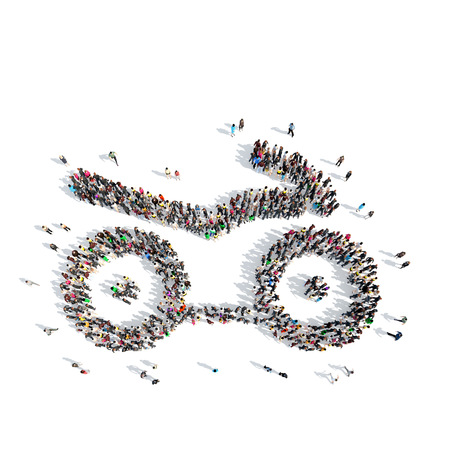 motor scooter: A large group of people in the shape of a motor scooter. Isolated, white background.