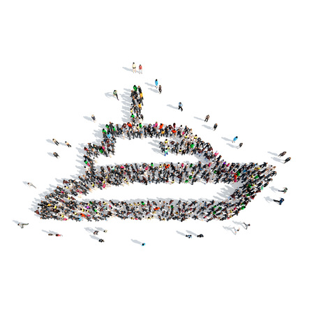 yacht isolated: A large group of people in the shape of a yacht. Isolated, white background. Stock Photo