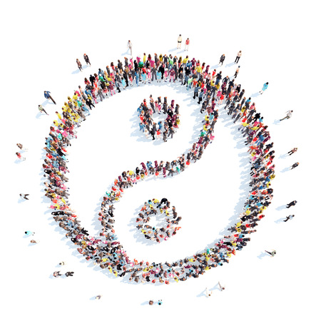 yin yang symbol: A large group of people in the shape of yin yang. Isolated, white background.