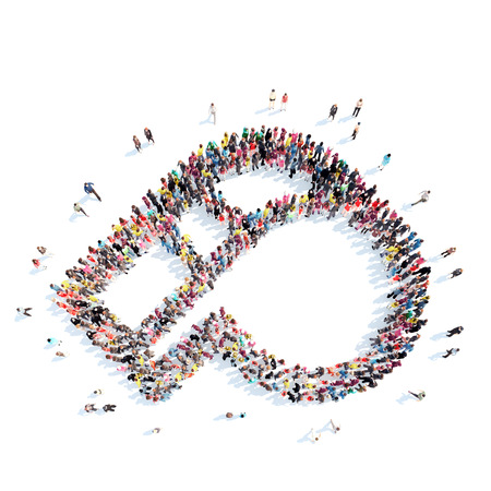 A large group of people in the shape of a whistle. Isolated, white background.