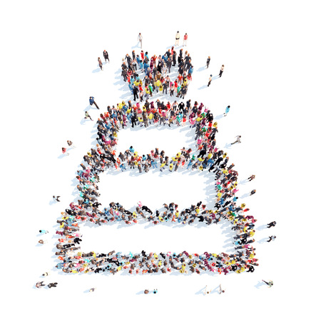 topper: A large group of people in the shape of a wedding cake. Isolated, white background.