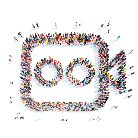 A large group of people in the shape of a video camera. Isolated, white background. photo