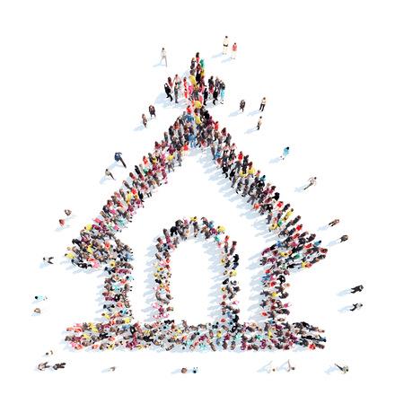 Een grote groep mensen in de vorm van de kerk. Geïsoleerd, witte achtergrond. Stockfoto