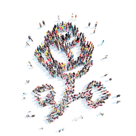 A large group of people in the shape of a rose. Isolated, white background. photo