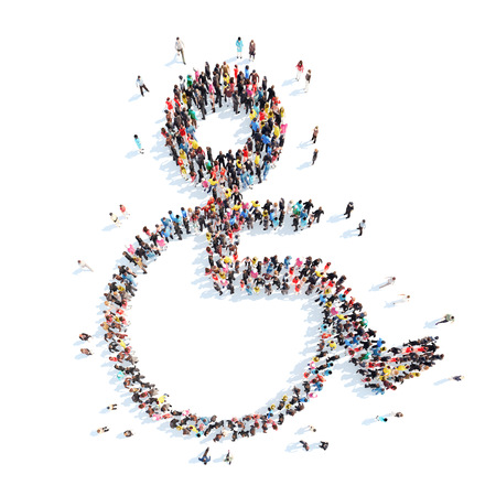 wheelchair users: A large group of people in the shape of wheelchair users. Isolated, white background.
