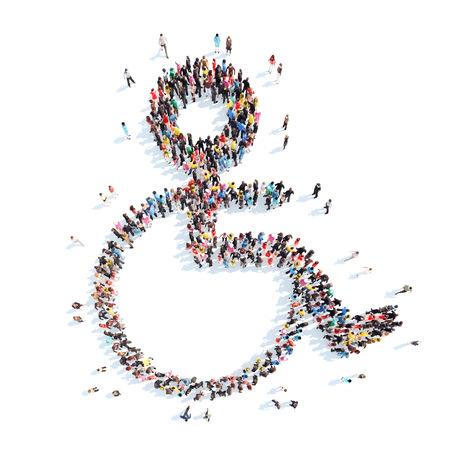 silla de rueda: Un gran grupo de personas en forma de silla de ruedas. Aislado, fondo blanco.