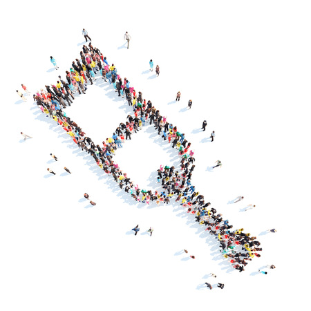 immobility: A large group of people in the shape of medical crutch. Isolated, white background. Stock Photo