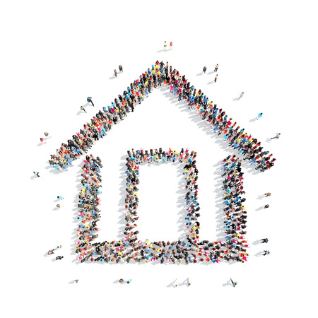 A large group of people in the shape of a house. Isolated, on a white background.