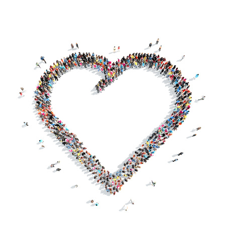A large group of people in the shape of a heart. Isolated, on a white background.