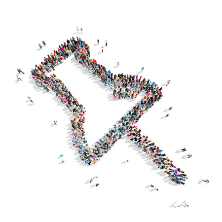 Large group of people in the shape of a map pointer.Isolated, white background. photo