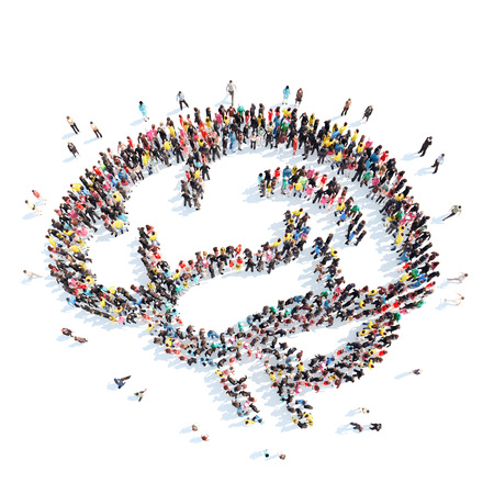 Een grote groep mensen in de vorm van de hersenen. Geïsoleerd, witte achtergrond. Stockfoto