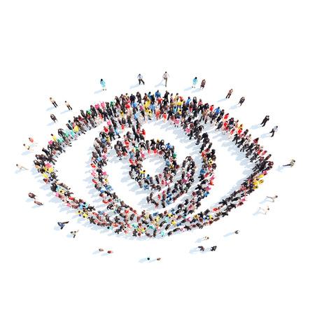 目の形の人々 の大規模なグループ。分離、白背景。