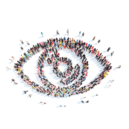 A large group of people in the shape of the eye. Isolated, white background.