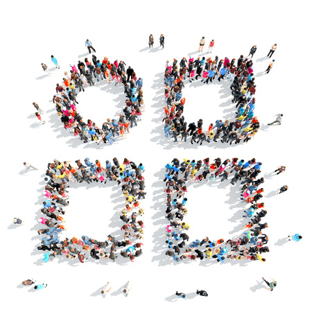 A large group of people in the shape of abstract symbols. Isolated, white background. photo