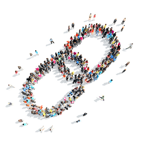 A large group of people in the shape of a chain. Stock Photo