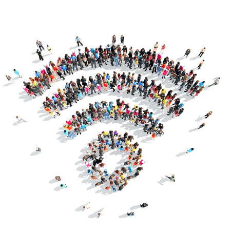 A large group of people in the shape of an Wi fi. Isolated, white background. Stock Photo