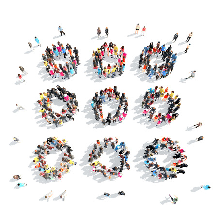 arrowheads: A large group of people in the shape of abstract symbols. Isolated, white background. Stock Photo