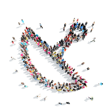 A large group of people in the shape of radar. Stock Photo