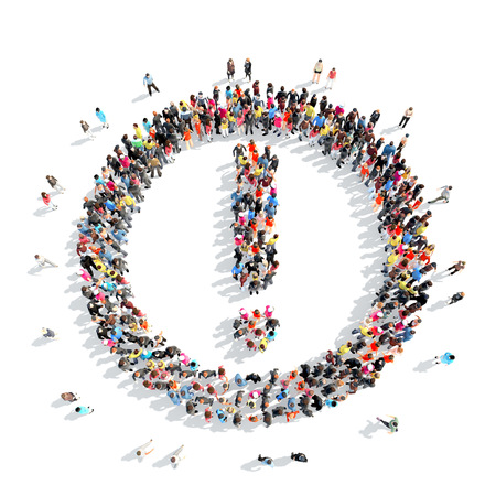 A large group of people in the shape of an exclamation mark. photo